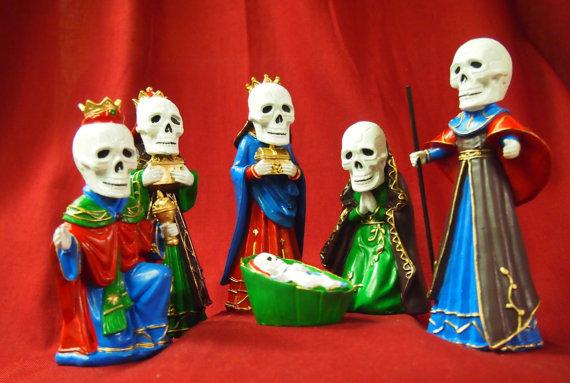 Porzellanfiguren Schädelkrippenspiel