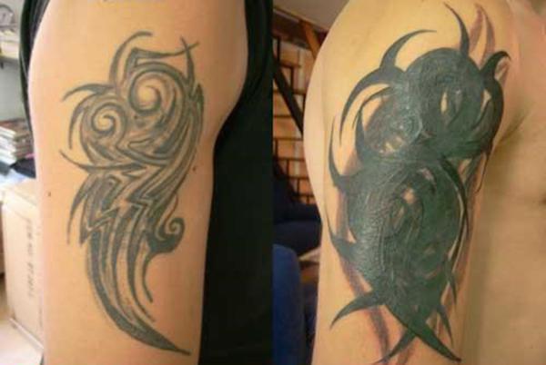 Tribal tattoo covern Tipps Ideen beste Tribals Oberarmtattoo Ideen