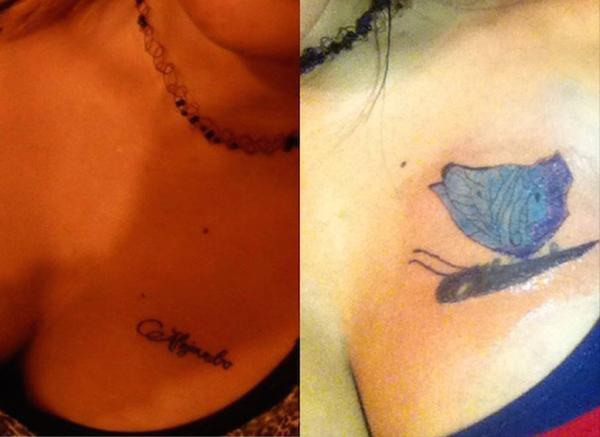 besonders hässliche tattoos Schmetterling Gurke hässlichstes Tattoo der Welt Coverup