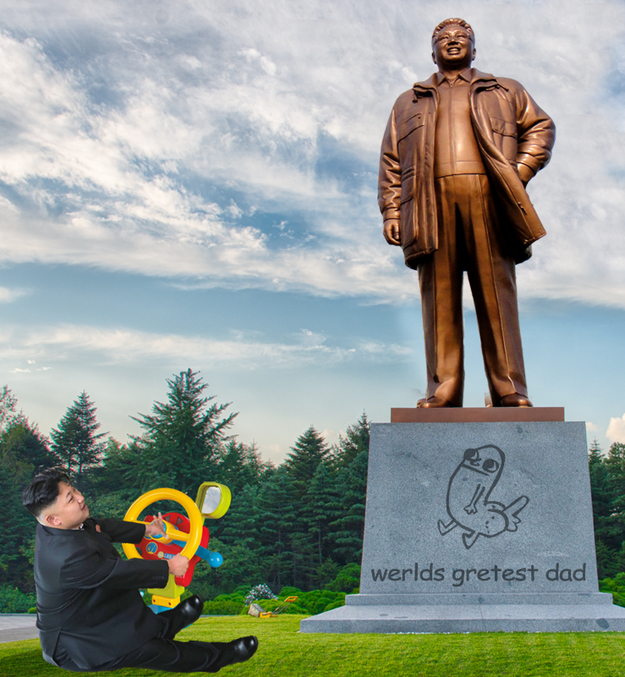 Kim Jong Un testet Betten Kim Jong Il Statue Bobbycar