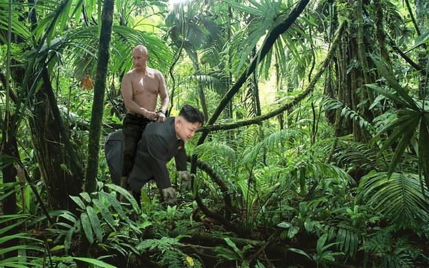 Kimg Jong Un Putin Freundschaft ACtionheld Ritt im Dschungel