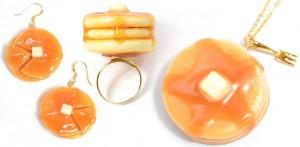 Fake Food Hatanaka Pancake Schmuck Pfannkuchen Ahornsirup Ring Ohrring