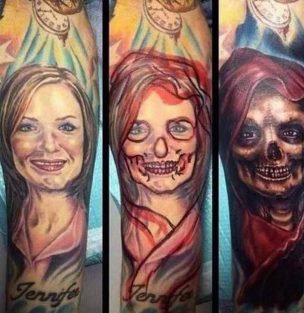 Tattoo Totenlady Tattoo vom Tod Exfreundin covern lassen