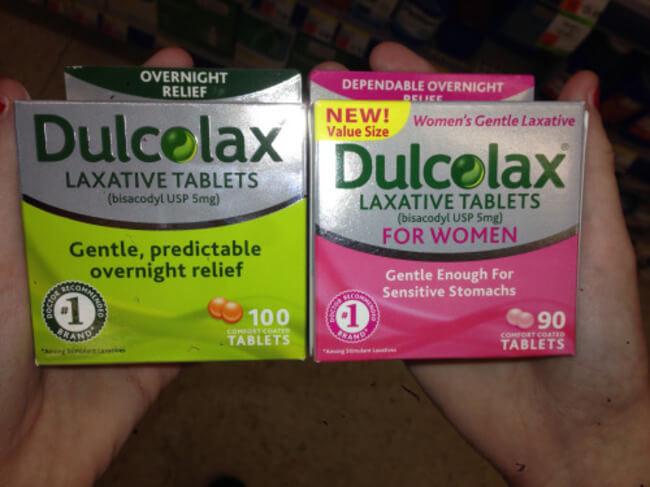 Dulcolax für Frauen und Männer rosa Produkte Gendering