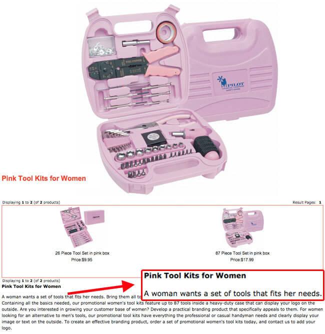 rosa Werkzeugkasten für Frauen Sexismus Pinkstinks