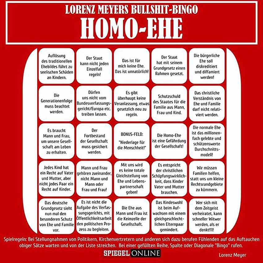 Bullshit-Bingo zur Homo-Ehe spielblatt