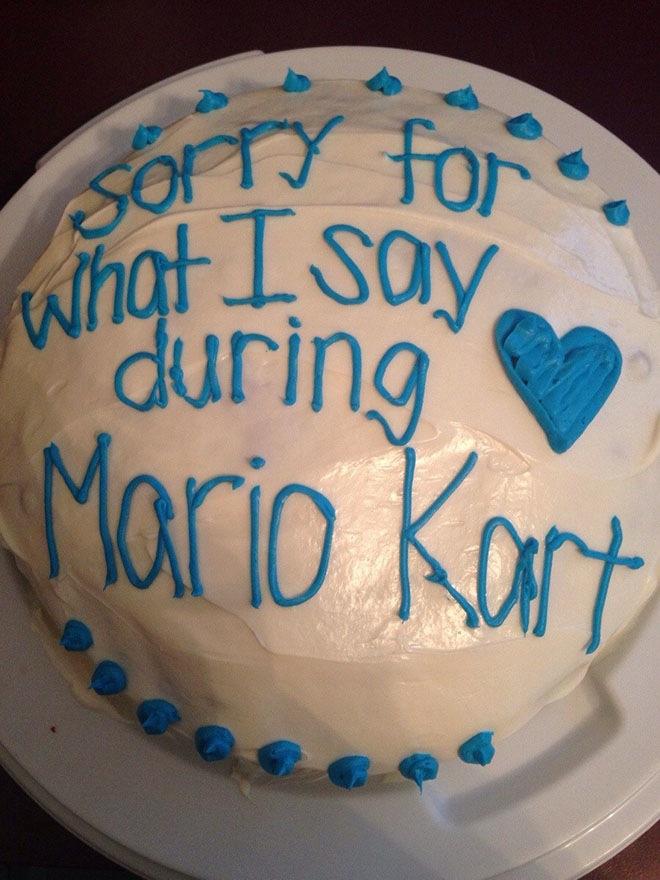Kuchen als Entschuldigung mario kart streit