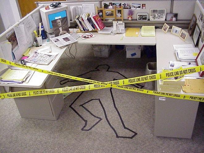 Für mehr Spaß am Arbeitsplatz streiche im büro crime scene