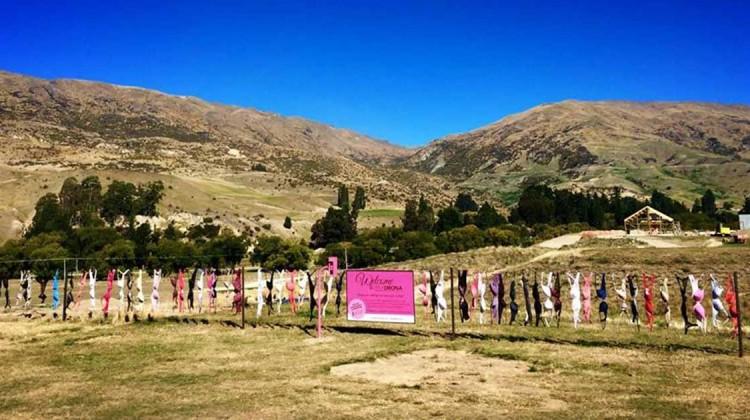 Cardrona Valley bra fence BH-Zaun Neuseeland Brustkrebs Charity