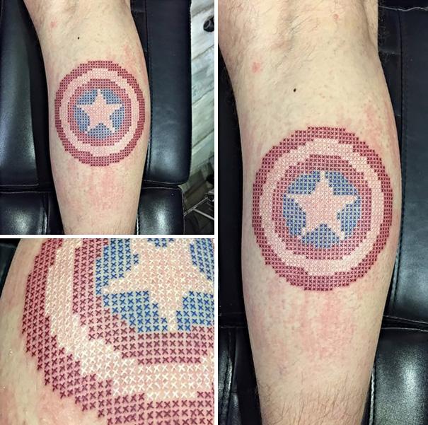 Eva Krbdk Türkei Tattoo Artists Captain America Kreuzstich