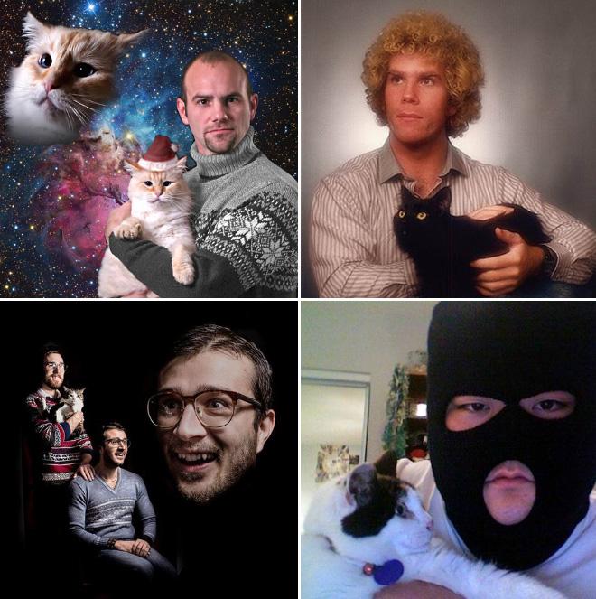 komische Fotos Mann mit Katze