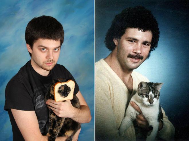 mann und katze mit toastbrot