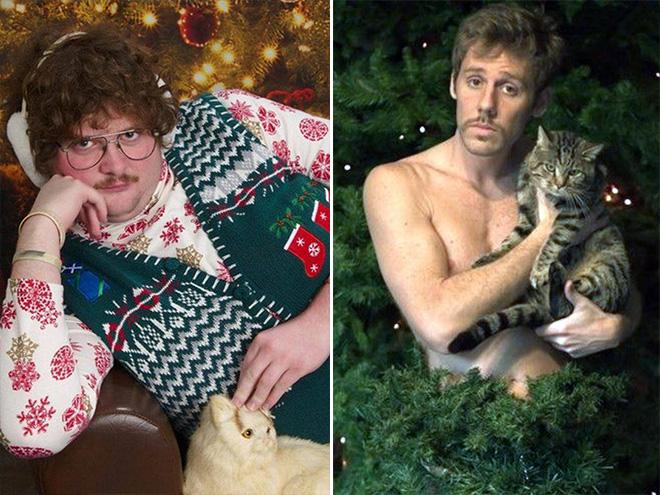 mann mit katze sexy weihnachten