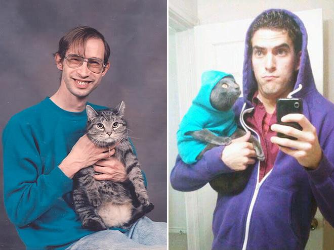 mann mit katze foto selfie