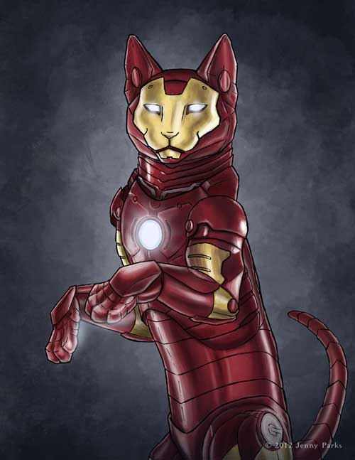 jenny parks illustrations marvel comics iron man katze