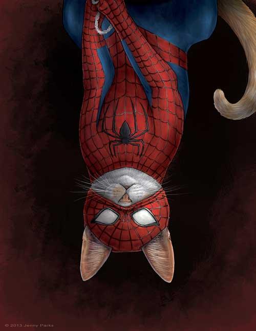 spidercat jenny parks illustrations spiderman