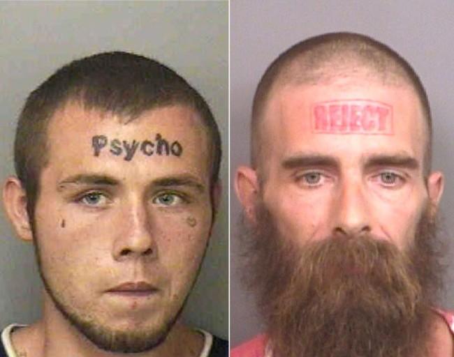 psycho rejected kuriose gesichtstattoos mugshot