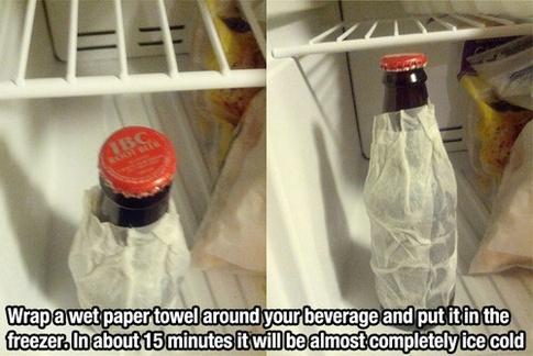 Nützliche Alltagstipps Lifehacks Flasche schnell kühlen