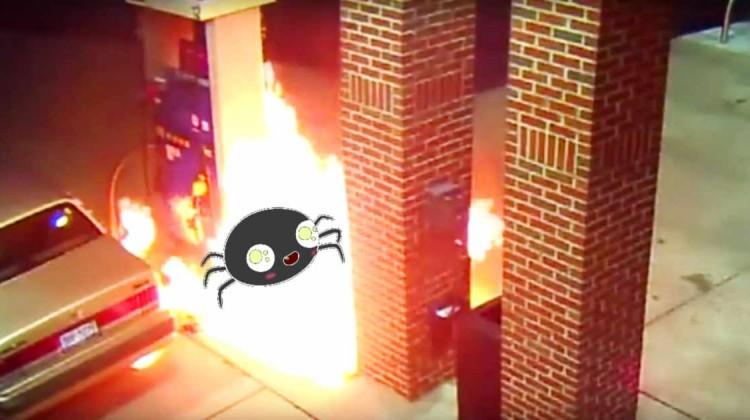 Tankstelle anzünden aus Angst vor Spinne slider