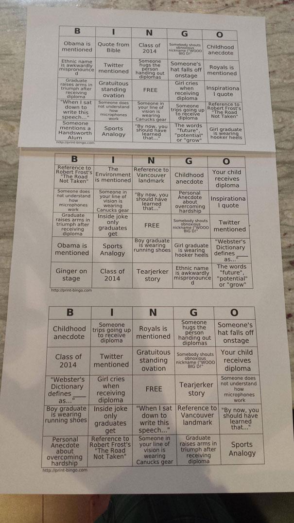bingo dinge, die bei abschlussfeier gesagt werden