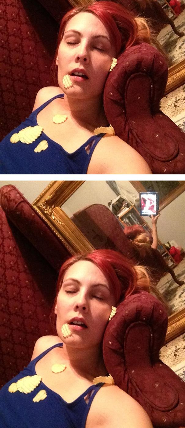selfie-fail beim schlafen fotografiert von schatz selfie-fails im spiegel