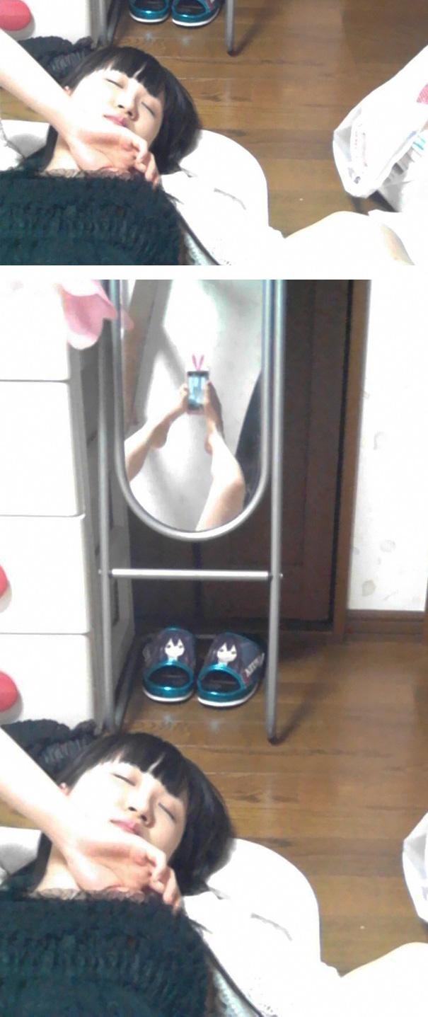 selfie im spiegel fail