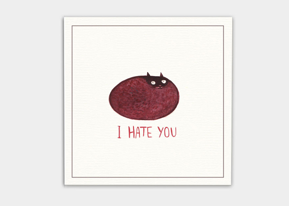 kaa illustrations grumpy cat böse postkarten ich hasse dich