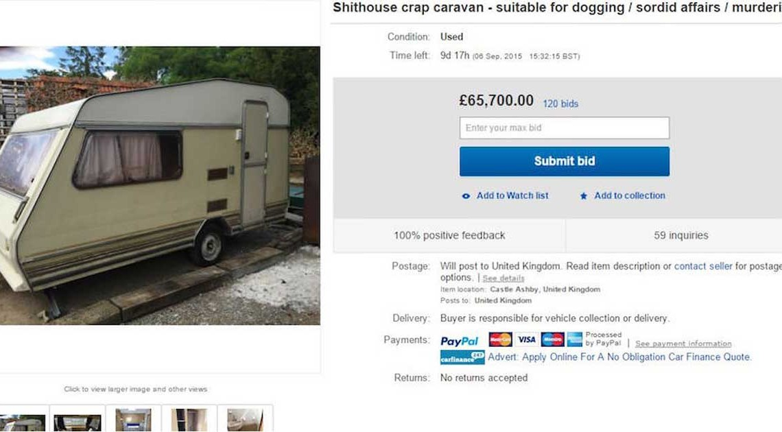 schäbiger wohnwagen ebay-anzeige lustig
