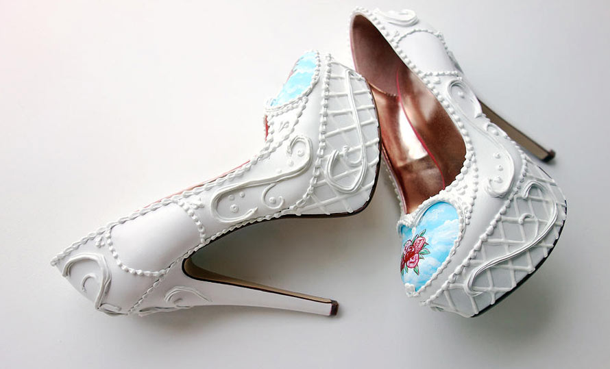 kuchenschuhe high heels in tortenoptik