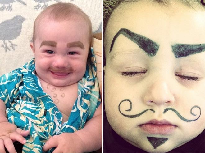 Augenbrauen auf ein Baby malen voll lustig