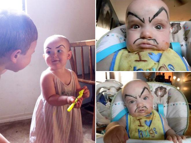 Spaß mit Augenbrauen auf Babies
