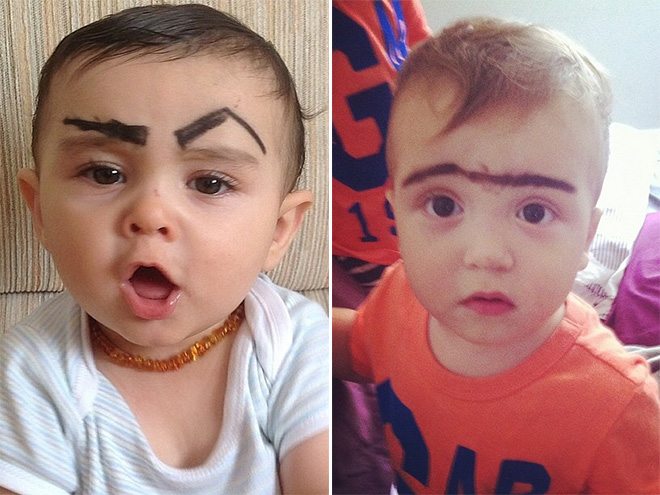 Baby verarschen und ihm augenbrauen malen lustig