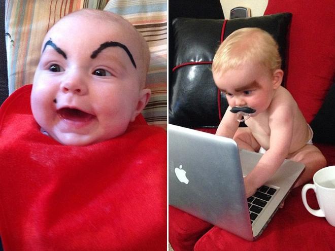 Babies mit Augenbrauen internet lustig