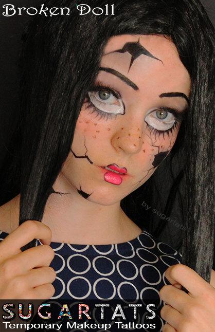 Sugartats Makeup-Tattoos Halloween schminken schnell und einfach broken Doll