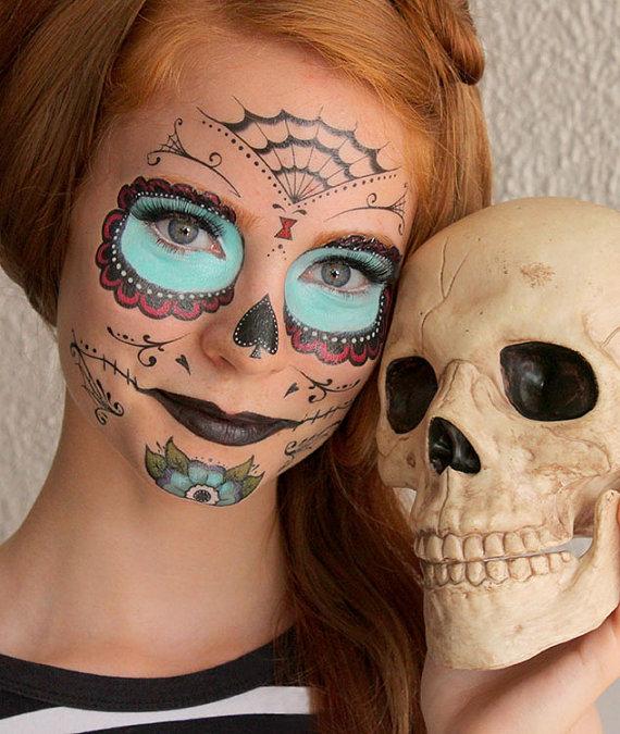 Sugartats Makeup-Tattoos Halloween schminken schnell und einfach Sugar Skull Tutorial