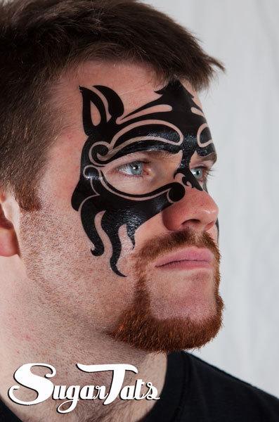 Sugartats Makeup-Tattoos Halloween schminken schnell und einfach Makeup-Tattoos tribal Mike Tyson