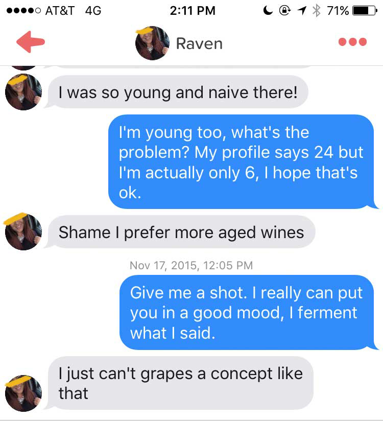 Glas Wein bei Tinder