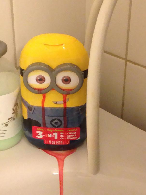 design lustig minion shampooflasche