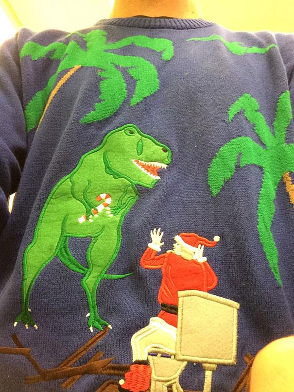Weihnachtsmann mit Dinosaurier