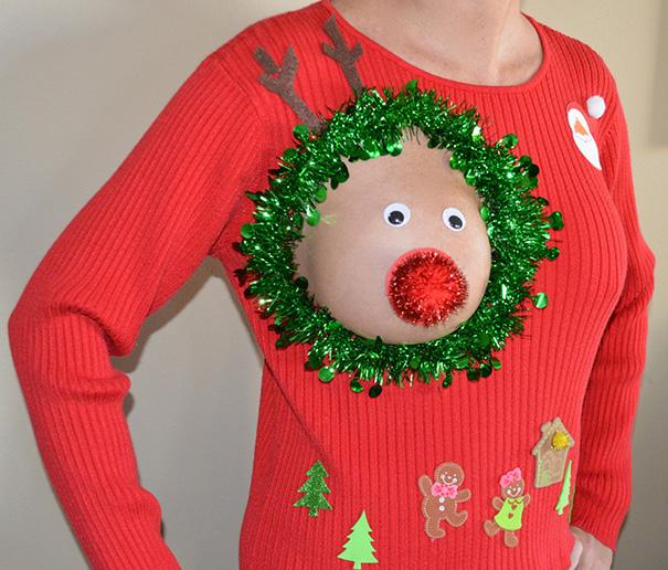 Weihnachtspullover mit Rudolf