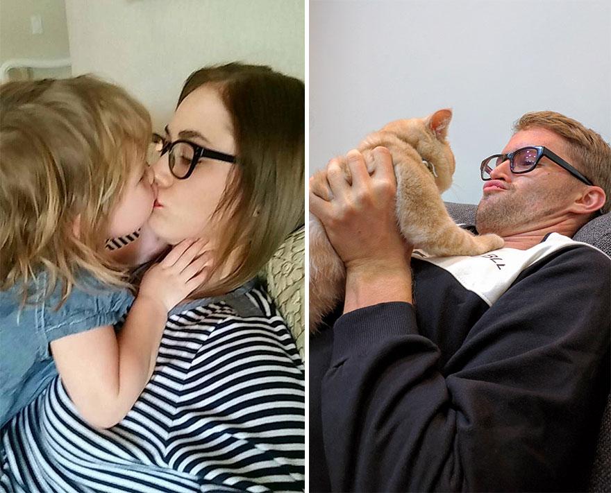 Gordy Yates Mann stellt Kinder-Fotos mit Katze nach