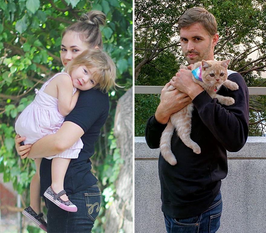 Gordy Yates Mann stellt Baby-Fotos mit Katze nach