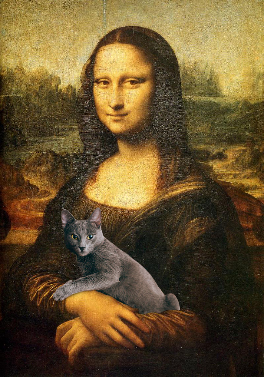 Eduard Cîrstea Katzen in Gemälde Mona Lisa