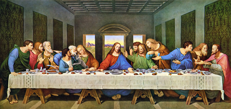 Eduard Cîrstea Katzen in Gemälde Das letzte Abendmahl