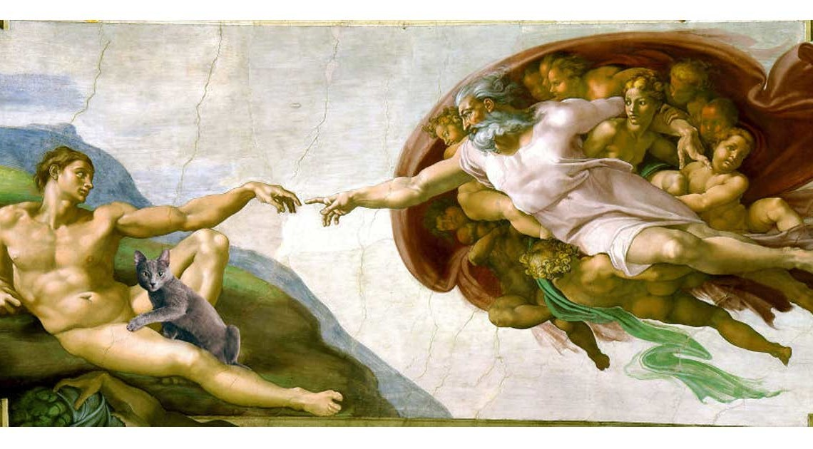 Eduard Cîrstea Katzen in Gemälde Michelangelo