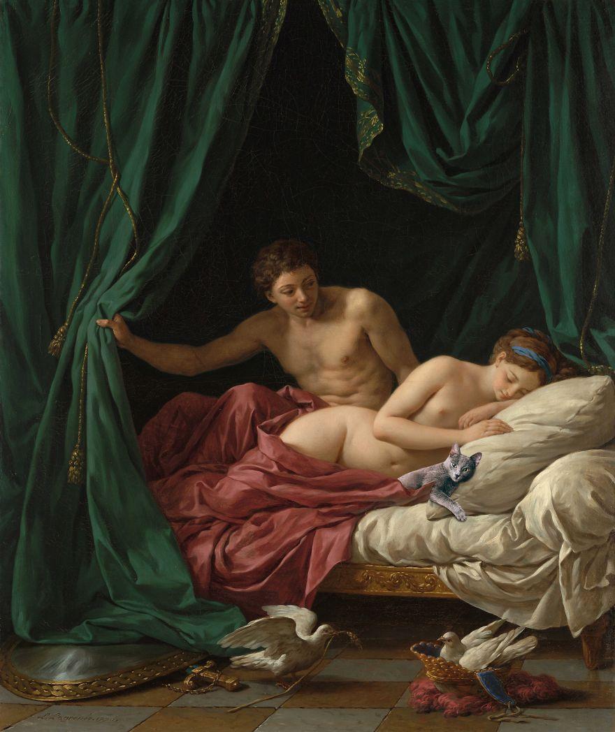 Eduard Cîrstea Katzen in Gemälde Mars und Venus