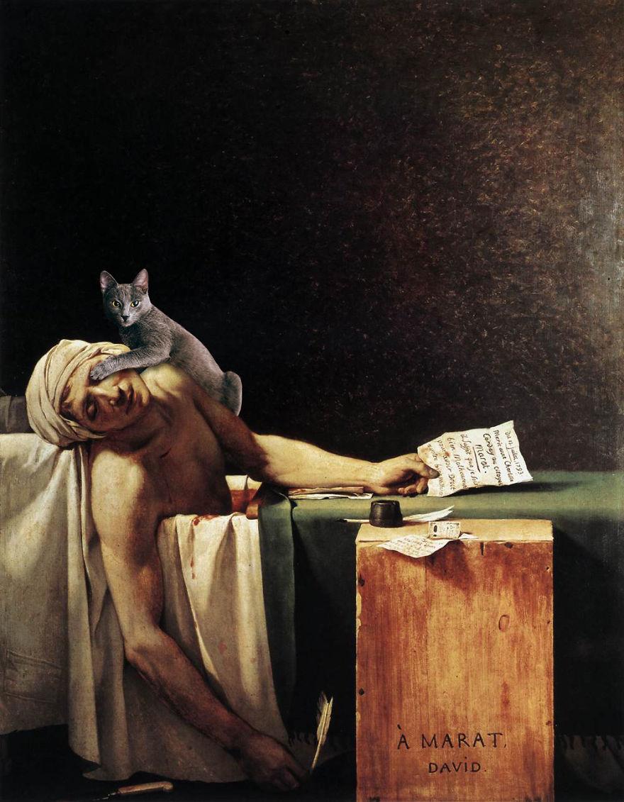 Eduard Cîrstea Katzen in Gemälde der Tod des Marat