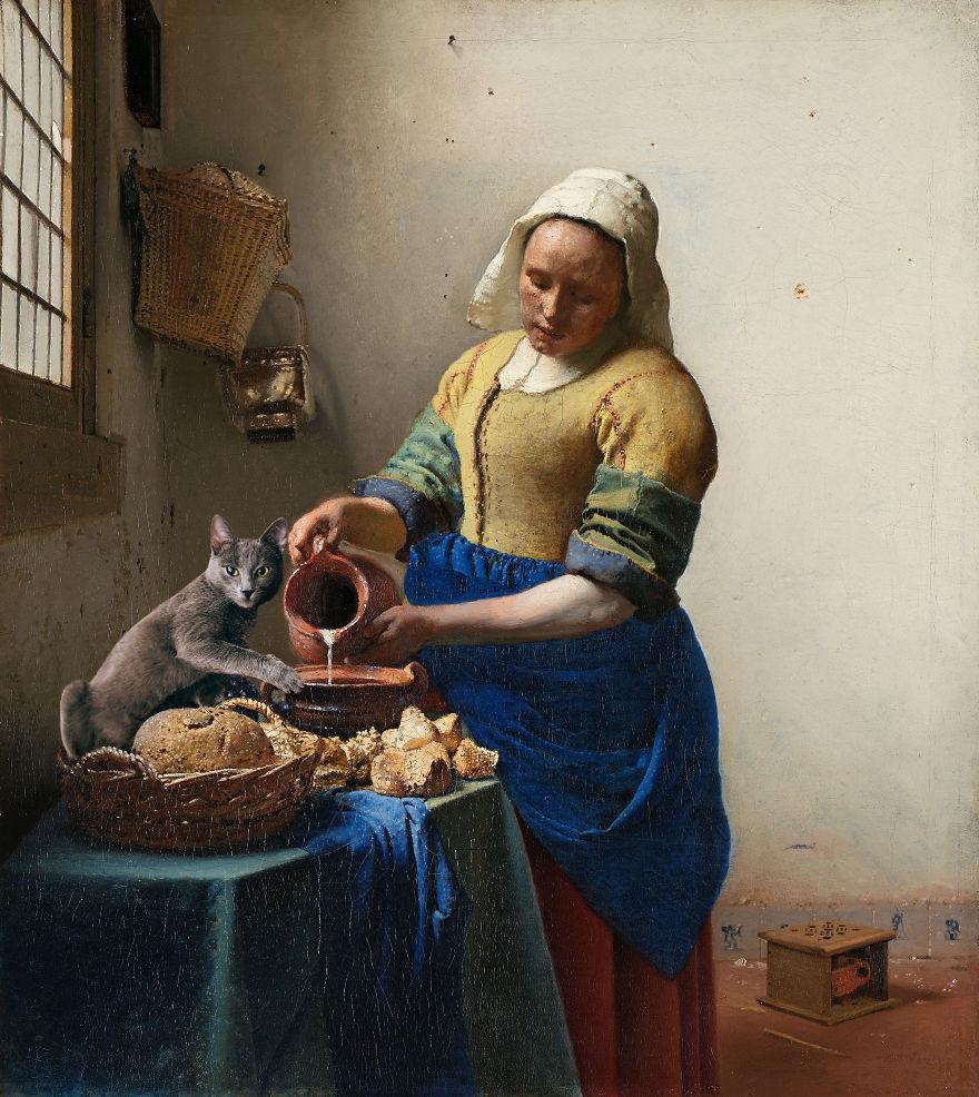 Eduard Cîrstea Katzen in Gemälde Vermeer Milchmagd