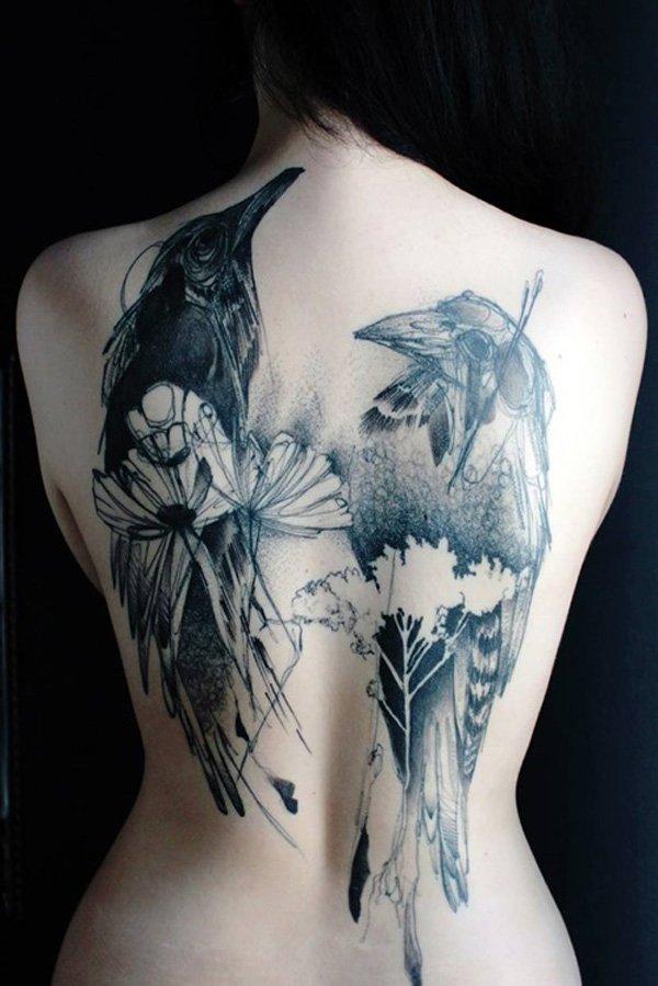 sketchwork rücken tattoo