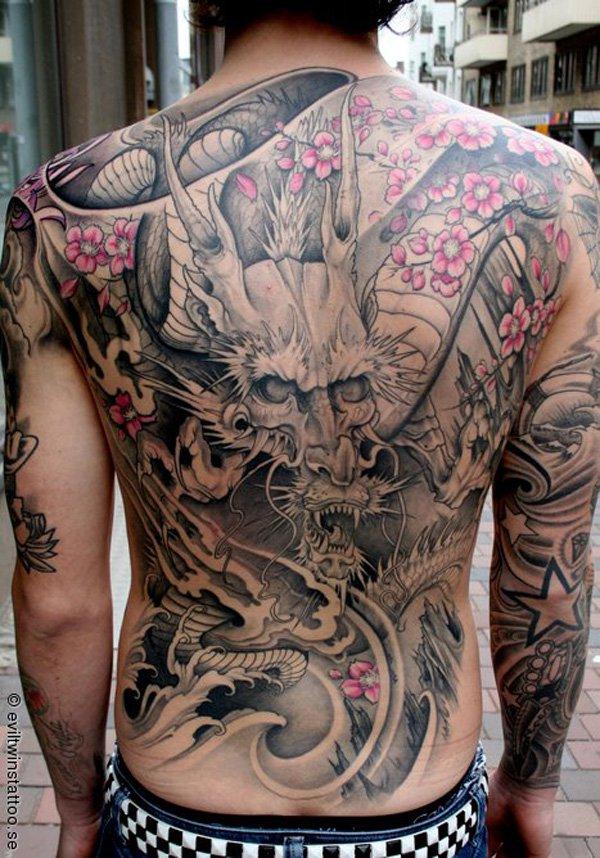 japanischer drache rückentattoo